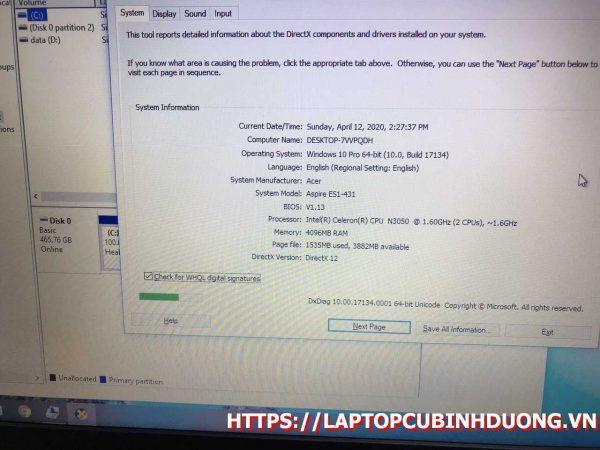 Laptop Acer Ea1 N3050 4g 500g Laptopcubinhduong.vn [kích Thước Gốc] Result