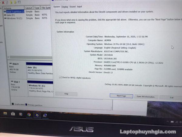Asus Ux310 I3 6100u 4g M2 128g Hdd 500g Lcd 14 Fhd Laptopcubinhduong.vn 1